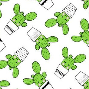 happy cactus - potted succulents - white