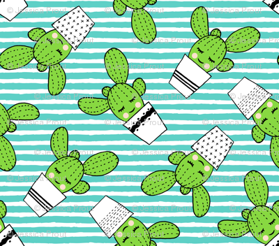 happy cactus - potted succulents - dark teal stripes