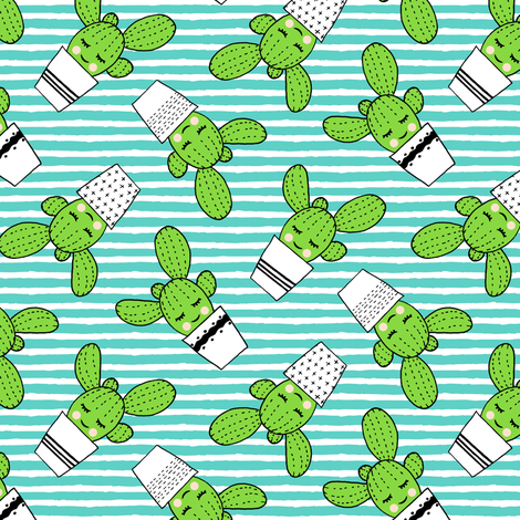 happy cactus - potted succulents - dark teal stripes fabric by littlearrowdesign on Spoonflower - custom fabric