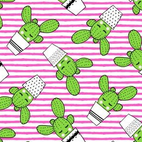 happy cactus - potted succulents - dark pink stripes