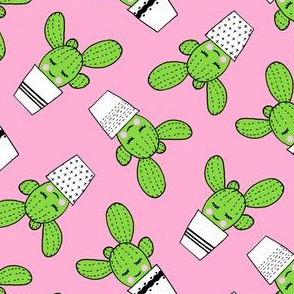 happy cactus - potted succulents - pink