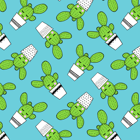 happy cactus - potted succulents - blue fabric by littlearrowdesign on Spoonflower - custom fabric