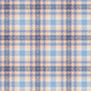 Eggshell and Blue Jagged Plaid