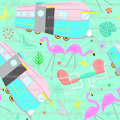 Midcentury Retro Yard Flamingos + Campers