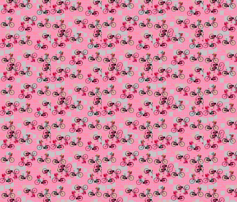 Riding My Bike Under A Pink Sky at Night fabric by zmarksthespot on Spoonflower - custom fabric
