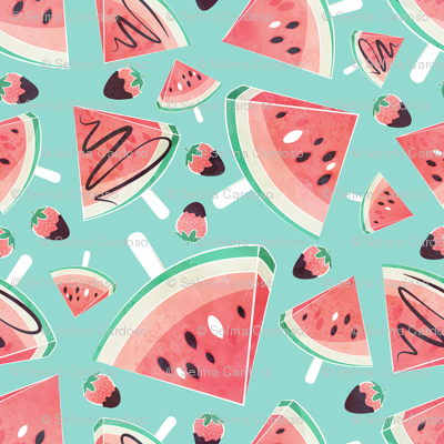 Watermelon popsicles, strawberries & chocolate // mint background delicious coral red ice cream & fruits cover with melted brown chocolate