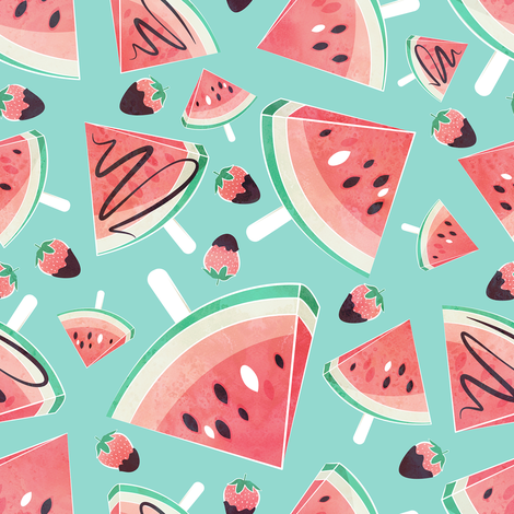 Watermelon popsicles, strawberries & chocolate // mint background delicious coral red ice cream & fruits cover with melted brown chocolate fabric by selmacardoso on Spoonflower - custom fabric