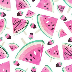 Pink watermelon popsicles, strawberries & chocolate // normal scale // white background delicious pink ice cream & fruits cover with melted brown chocolate
