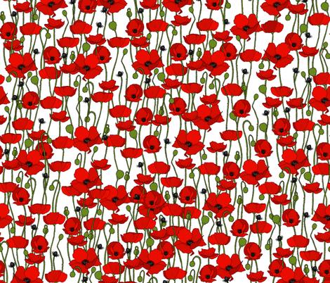 Poppy repeat white - medium fabric by coppercatkin on Spoonflower - custom fabric
