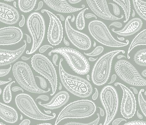 Paisley Coordinate White On Grey Large Print Wallpaper