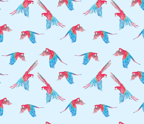 colorful parrot in the air / flying birds fabric by lindi_melse on Spoonflower - custom fabric