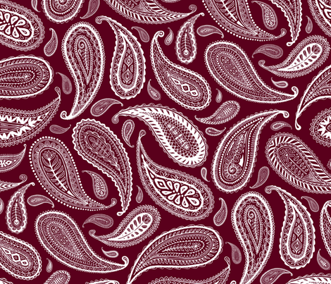 Paisley Coordinate - white on burgundy red - large print fabric by micklyn on Spoonflower - custom fabric