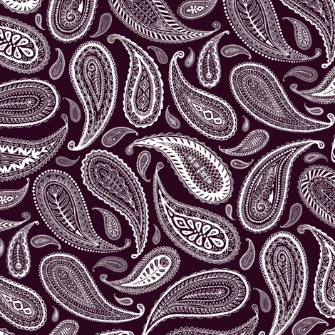 Paisley Coordinate - white on dark plum - small print fabric by micklyn on Spoonflower - custom fabric