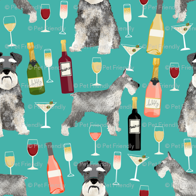 schnauzer (smaller scale) fabric dogs and wine design cute dogs and bubbly fabric schnauzer dogs - turquoise