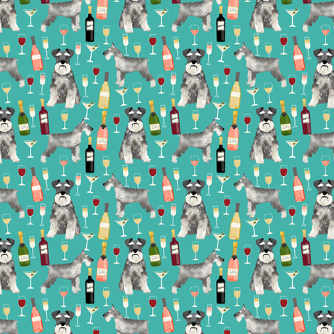 schnauzer (smaller scale) fabric dogs and wine design cute dogs and bubbly fabric schnauzer dogs - turquoise fabric by petfriendly on Spoonflower - custom fabric