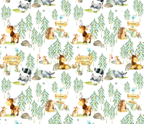 Woodland Adventure - Moose Fox Deer Bear Hedgehog Squirrel Raccoon - LARGER SCALE fabric by gingerlous on Spoonflower - custom fabric