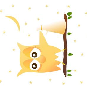 Noisy Owl Tea Towel on White FFFFFF Moon Loud Hailer