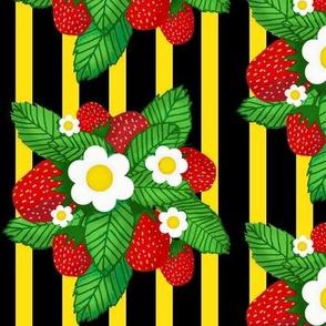 Summer strawberries on blackw/ yellow stripes