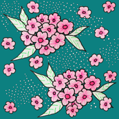 Pink Striped Blossoms on Turquoise