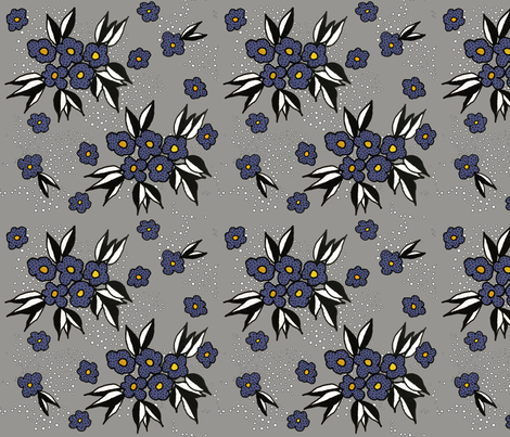 Purple Blossoms on Grey fabric by mimsy_whipstitch on Spoonflower - custom fabric