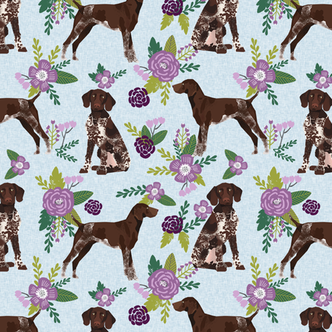german shorthair pointer pet quilt  c coordinate floral fabric by petfriendly on Spoonflower - custom fabric