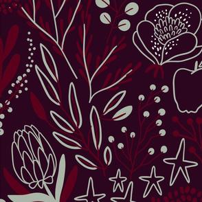 Burgundian motifs. Winter elegant flowers, berries & birds. Holiday mood. Big