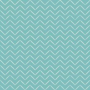 Babouche Aqua Chevron Stripe