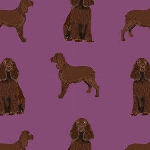 field spaniel dog breed fabric purple