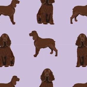 field spaniel dog breed fabric lavender