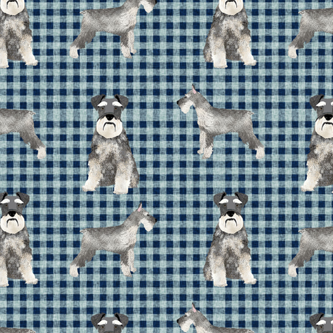 schnauzer plaid dog breed fabric blue fabric by petfriendly on Spoonflower - custom fabric
