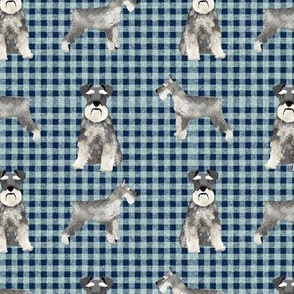 schnauzer plaid dog breed fabric blue