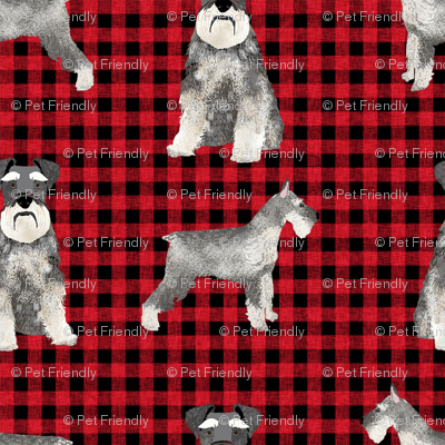 schnauzer plaid dog breed fabric red