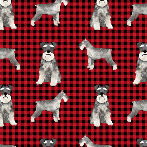 schnauzer plaid dog breed fabric red fabric by petfriendly on Spoonflower - custom fabric