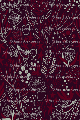 Burgundian motifs. Winter elegant flowers, berries & birds. Holiday mood.
