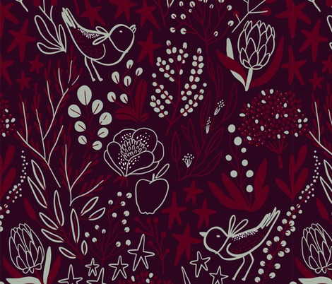 Burgundian motifs. Winter elegant flowers, berries & birds. Holiday mood. fabric by kostolom3000 on Spoonflower - custom fabric
