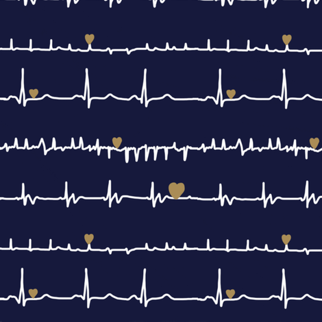 Heres my heart  navy white gold2 - Sketch 1 fabric by doodleandcharm_ on Spoonflower - custom fabric