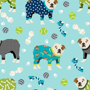 english bulldog pajamas dog breed cute fabric