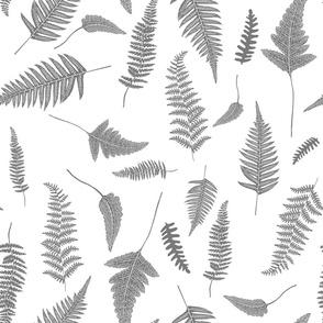 "21"" Botanical Leaves Mix & Match - Grey"