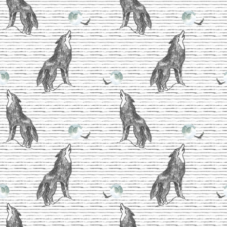 "4"" Howl At The Moon Wolf with Stripes fabric by shopcabin on Spoonflower - custom fabric"