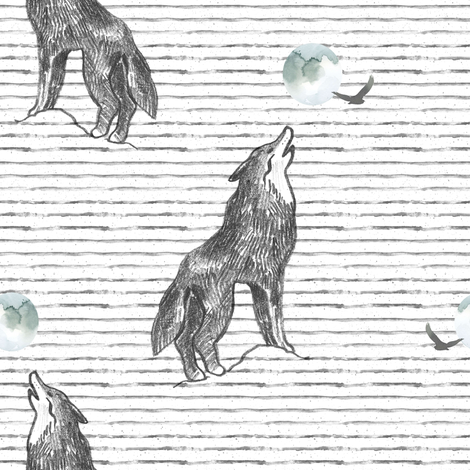 "8"" Howl At The Moon Wolf with Stripes fabric by shopcabin on Spoonflower - custom fabric"