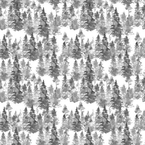 "4"" Woodland Trees - Grey fabric by shopcabin on Spoonflower - custom fabric"