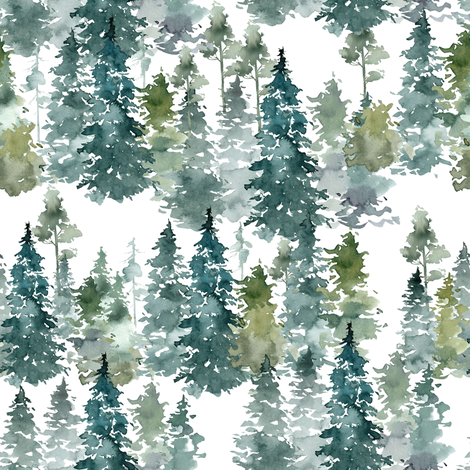 "8"" Woodland Trees - White fabric by shopcabin on Spoonflower - custom fabric"