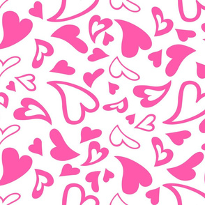 Bright Pink Hearts on White