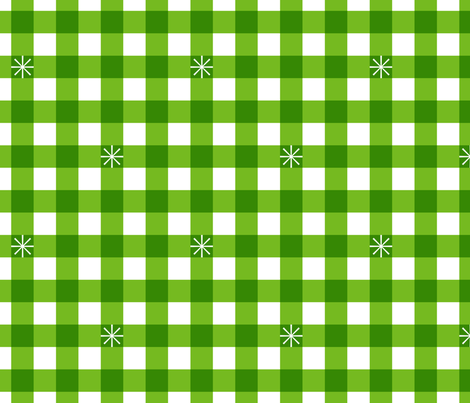Stitched Gingham* (Maxi Grass) || jumbo check star starburst stitching needlework checkerboard spring summer 70s retro vintage large scale bright green fabric by pennycandy on Spoonflower - custom fabric