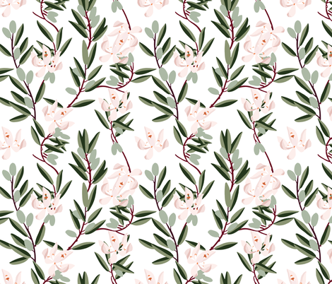 OLIVE BLOOM PINK fabric by holli_zollinger on Spoonflower - custom fabric