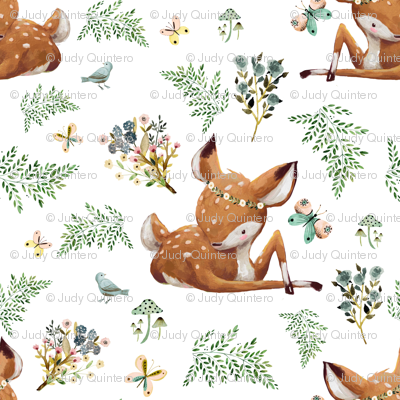 "3"" Boho Botanicals Deer Mix _ Match 2 - White"