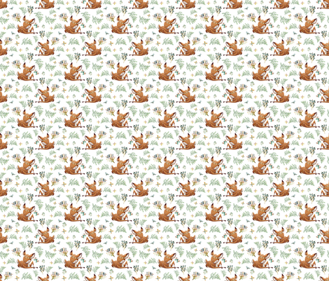"3"" Boho Botanicals Deer Mix _ Match 2 - White fabric by shopcabin on Spoonflower - custom fabric"