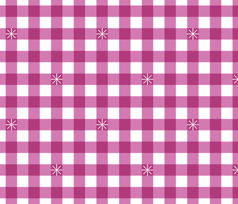 Stitched Gingham* (Maxi Pink Liza) || jumbo check star starburst stitching needlework checkerboard spring summer 70s retro vintage large scale magenta fabric by pennycandy on Spoonflower - custom fabric