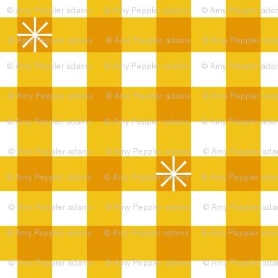 Stitched Gingham* (Maxi Velvet Banana) || jumbo check star starburst stitching needlework checkerboard spring summer 70s retro vintage large scale mustard yellow gold