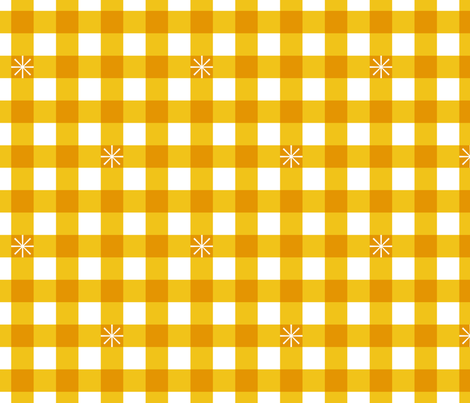 Stitched Gingham* (Maxi Velvet Banana) || jumbo check star starburst stitching needlework checkerboard spring summer 70s retro vintage large scale mustard yellow gold fabric by pennycandy on Spoonflower - custom fabric